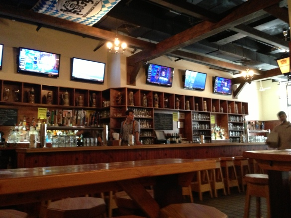 Can't have a beer hall without a bar, or without TVs for showing ESPN, apparently.