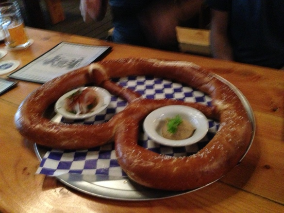 The Wow Pretzel up close and personal, with mustard on the right, and O'Batzda on the left.