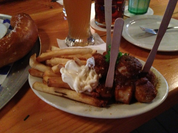 My close encounter with Curry-wurst, plus the typical side of fries with mayo.