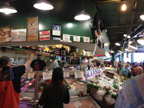 Pike Place Fish Market, already crowded with tourists eager to see some serious fish-tossing.