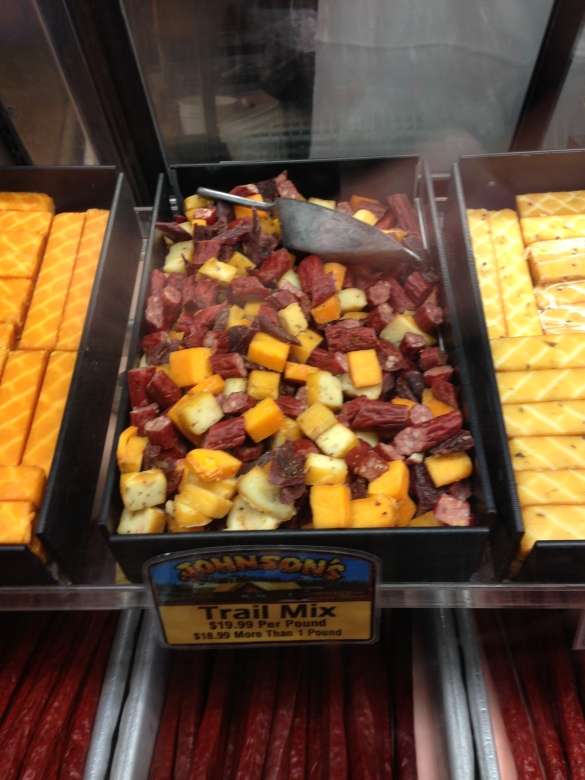 The loosest definition of trail mix I've ever seen. Yes, that is a pile of meat and cheese.