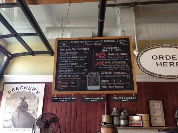 The menu at the original Beecher's Handmade Cheese.