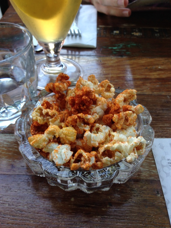 Complimentary spiced popcorn -- not as good as the pita and tahini to come but I'm never one to turn down free carbs.