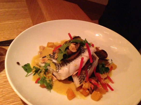 The Steamed Black Bass -- so good it inspire musical theater references.