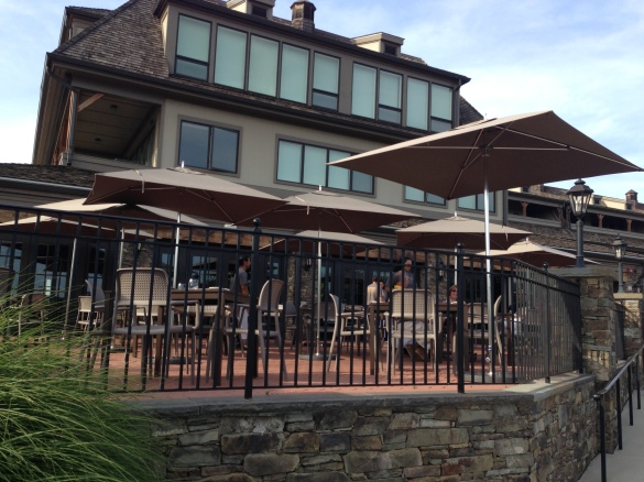 Some of the outdoor seating on RiverMarket's huge patio -- this side unfortunately faces the train station and Tappan Zee Bridge.